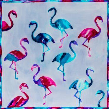 Apaszka Flamingi W Szarościach
