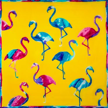 Apaszka Flamingi Żółte