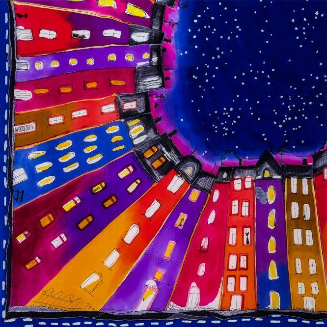 Gawroszka Kamieniczki Fioletowe ręcznie malowana na jedwabiu