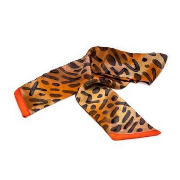 jedwabny szal mini, ręcznie malowany, w tygrysie cętki czarno-brązowe
