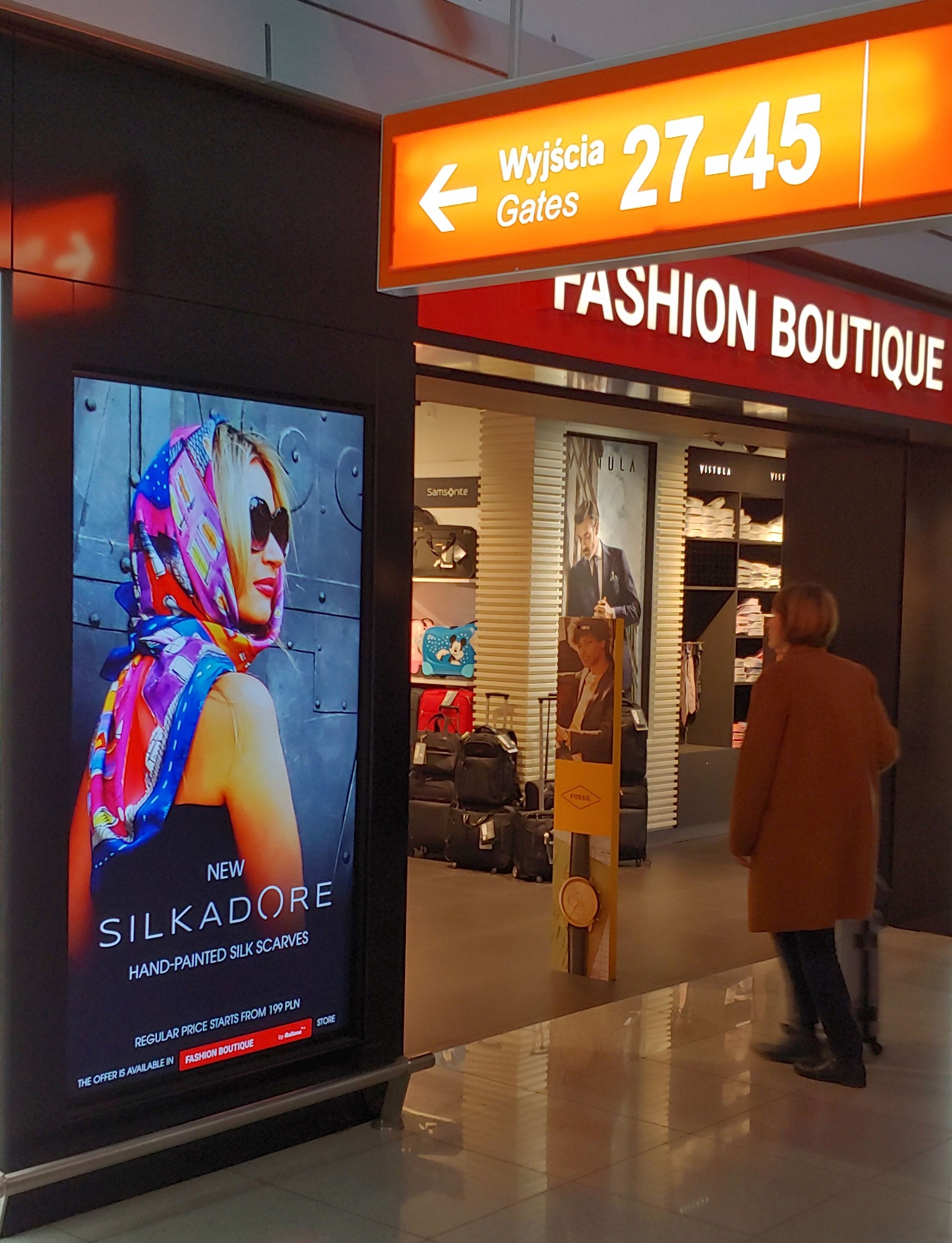 silkadore silk scarves at the WARSAW CHOPIN AIRPORT