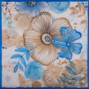 gawroszka Błękitna Łąka ręcznie malowana na jedwabiu,