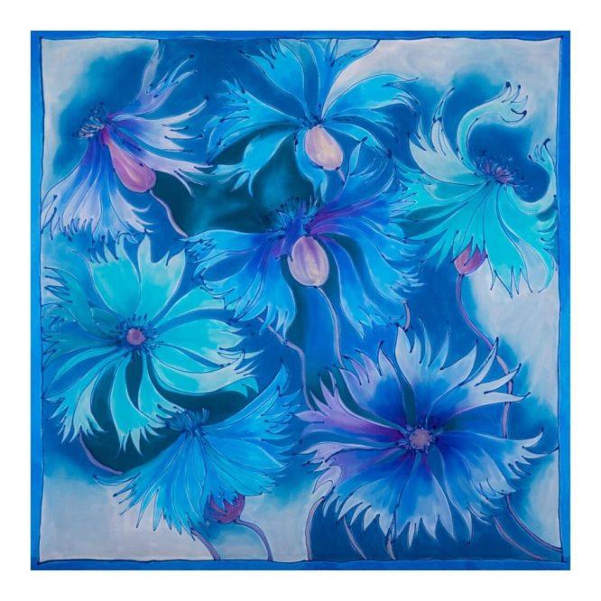 apaszka jedwabna ręcznie malowana chabry, Silkadore Milanówek
