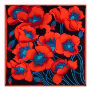 ręcznie malowana apaszka jedwabna w czerwone maki