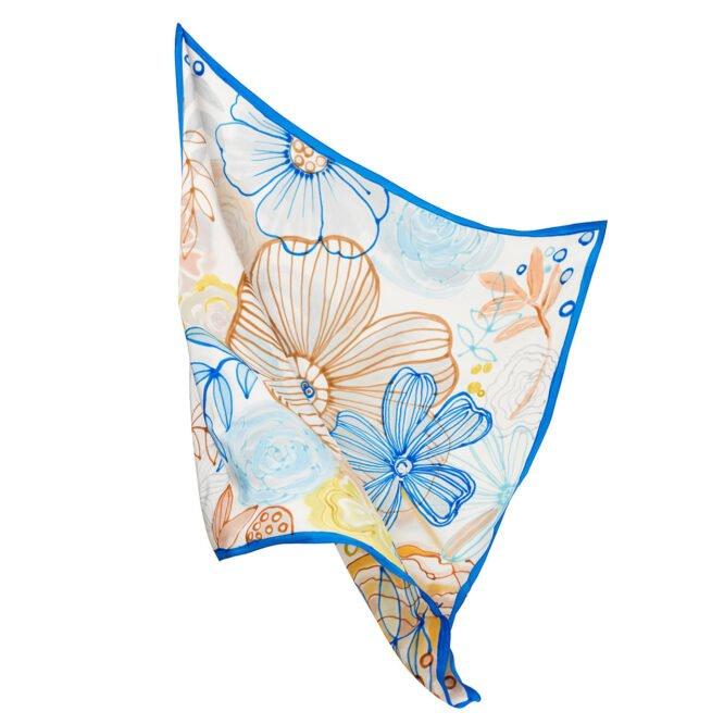 apaszka jedwabna Silkadore ręcznie malowana Błękitna Łąka