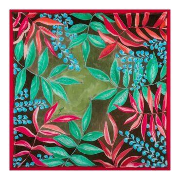 chusta jedwabna w zielone liście w zielone liście jarzębiny